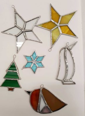 Stained Glass Xmas Decorations